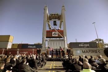 File GPA Unveils ERTG crane: Photo credit Georgia Port Authority