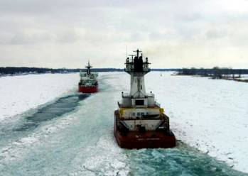 File Great Lakes icebreaking: Photo courtesy of the Algoway crew/USCG