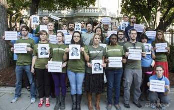 File US Greenpeace supporters protest at Russian Embassy: Photo credit Greenpeace