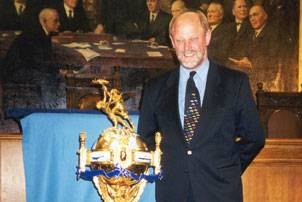 File Incat Robert Clifford with the Hales Trophy at a ceremony in London in 1998 following the win by the ship CatLink V. (Photo courtesy Incat)