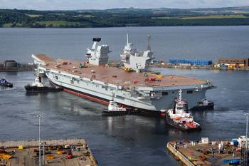 File HMS Queen Elizabeth floating out of her dock for the first time (Photo: QEClassCarriers)