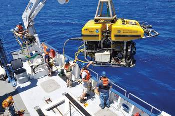 "File URI students, technicians and scientists launch the remotely operated vehicle  ""Hercules"" into the Black Sea to study the geology of the seafloor."