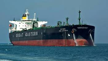File M/T Jag Lavanya, a 105,000 DWT crude-oil carrier owned by the Great Eastern Shipping Company