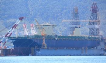 File Hyundai Hope under construction at Daewoo Shipyard in Okpo, Korea. The first vessel in a series of four, she will be delivered in March 2014