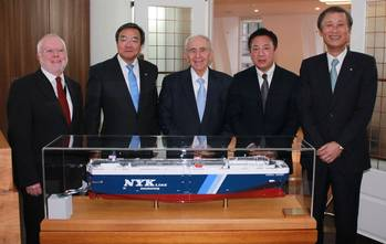 File Left to right: Peter Hinchliffe, ICS Secretary General; Koji Sekimizu, IMO Secretary-General, Spryos M Polemis, ICS immediate past chairman, Masamichi Morooka, ICS Chairman and Yasumi Kudo, President of NYK.