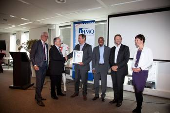 File from left to right: Mr Baart (IHMQ), Mr Griffith (IHMQ and Work to Health), Mr Hamers (President IHC Merwede), Mr Lie-A-Lien (Health Manager IHC Merwede), Mr Hylkema (Managing Director Division Technology & Services IHC Merwede), Mrs Raaijmakers (IHMQ)