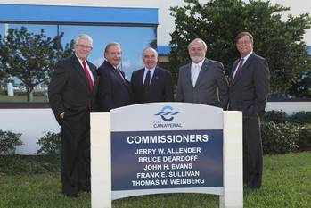 File From left: Vice Chairman Jerry Allender; Commissioner Bruce Deardoff; Secretary/Treasurer Frank Sullivan; Commissioner John H. Evans; and Chairman Tom Weinberg.