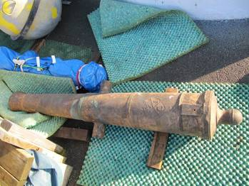 File A cannon that was taken from one of the wrecks (MCA photo)