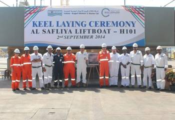 File N-KOM & Gulf Drilling International senior management and project teams at keel laying ceremony of liftboat Al Safliya (H101) held at the N-KOM Shipyard in Qatar