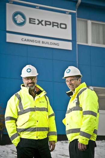 File From left, Expro's UK area manager, Neil Sims, and Expro's Europe CIS region director, Keith Palmer, at the new Carnegie building in Dyce