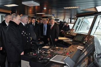 File President Putin Aboard Icebreaker: Photo credit Presidential News Service