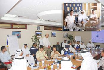 File Members of the Cruise Ship Emergency Response Task Force at the simulated table top exercise. Inset: Captain Abdulla Al-Hayyas on board the Costa Cruise Lines' FAVOLOSA during the simulated drill (Photo: Dubai Maritime City Authority).