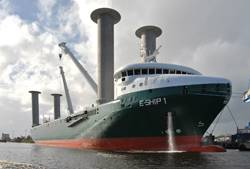 "File The futuristic ""E-Ship I"", driven by four Flettner-Rotors for emission reduction reasons, build by Lindenau Shipyard, Kiel and Cassens Shipyard, Emden."