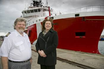 File Chris Dobson master of Ocean Osprey and Mary Bryce, wife of John Bryce, managing director of Atlantic Offshore Rescue, who named the vessel in Spain