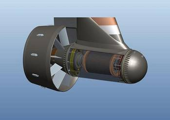 File GE's Inovelis pump jet is a breakthrough in electrical thruster design and provides higher efficiency over a wider range of operations and in dynamic positioning. Photo: GE