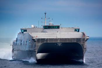 File JHSV 1 on Sea Trials: Photo courtesy of Austal