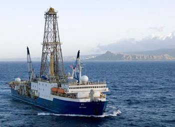 File UH Professor Jonathan Snow will embark on a two-month journey aboard the JOIDES Resolution research vessel. Pictured here, the ship is shown departing Honolulu in 2009 for a prior expedition. (Credit: William Crawford, IODP/TAMU)