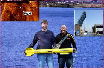 File Emmanuel Hlongwane with Fisher sonar tech (l) and side scan, Inset top left: Sonar image of utility pipe, Inset top right: Cheesequake Creek Bridge.