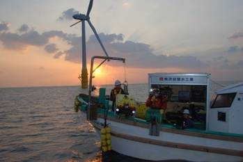 File Workboat deploying the Falcon ROV to check the integrity of floating turbine moorings off the coast of Japan