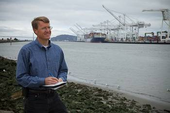 File Sandia National Laboratories researcher Joe Pratt stands near the Port of Oakland, one of the west coast ports he studied to learn whether hydrogen fuel cells are a viable power source for docked ships. (Photo by Steffan Schulz)