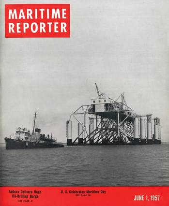 "File Gracing the cover of the June 1, 1957 edition was a  ""Huge Oil Drilling Barge"" the Margaret which was one of the largest ever built at 300 ft. long, 200 ft. wide and 93 ft. high, capable of an operating depth of 65 ft. Margaret was built by Alabama Dry Dock & Shipbuilding Company for the Ocean Drilling and Exploration Company, New Orleans."