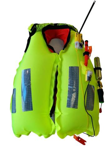 File The inflated K2 275N twin chamber lifejacket with AQ40L light and Kannad R10 SRS.