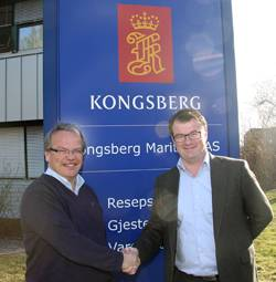 File  From left: Morten Hasås, Executive Vice President - Merchant Marine, Kongsberg Maritime and Rune Hagen Managing Director Jotron Consultas.