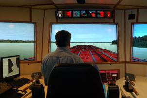File The full-mission, full-bridge towboat wheelhouse simulator at Kirby's training center (Photo courtesy Kirby Corp.)