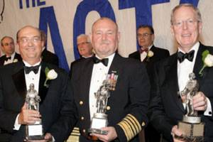 File Photo caption (from left to right): Ronald Widdows, Group President and CEO of Neptune Orient Lines (NOL) of Singapore, parent company of American President Lines (APL); Admiral Thad W. Allen, Commandant, United States Coast Guard; Donald Kurz, President and CEO of Keystone Shipping Company