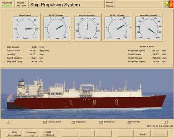 File The model represents a LNG vessel with a diesel electric dual fuel propulsion system, with the following propulsion configuration: Two high voltage propulsion electric motors (PEM) are connected to one propeller through gears.