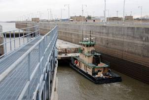 File One of the two miter gates of the auxiliary chamber close behind the MV Sir Robert at Locks 27 in Granite City, Ill. Photo courtesy USACE