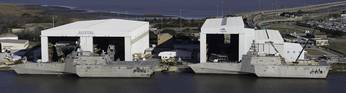 File LCS hulss 4 and 6, dockside at Austal.