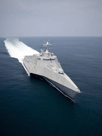 File Shown is USS Independence (LCS 2) during sea trials in the Gulf of Mexico. Two LM2500 aeroderivative gas turbines arranged in a COmbined Diesel and Gas turbine (CODAG) configuration with two diesel engines power the Austal-built LCS. Photo courtesy of Austal USA.