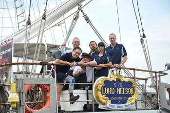 File (left to right): Singaporean mountaineer David Lim; Capt. Jonathan Walker (Head of Asia & Australasia, London Offshore Consultants); Nicolas White, Director/Scallywag (London Offshore Consultants, Singapore); Lord Nelson crew members Jim Bek and Ong Shi Yi; British High Commissioner to Singapore, Antony Phillipson.