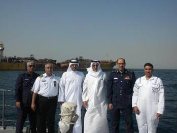 File (L to R) Capt. Abdulhusain Abdulla, Head of Maritime Safety & Environment Protection, GOP; Brigadier Ala a Syadi, Commander of Bahrain Coast Guard; Hassan Al Majed , Director General, GOP; Dr Adel Al Zayani                     Director General, Environment ; Capt. Hesham A.Rahman, Head of Technical Affairs, GOP; and Colonel Yusif Al Subai, Bahrain Coast Guard.