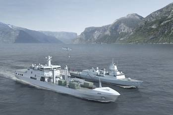 File BMT uses AVEVA Marine to design the Norwegian Defense Logistics Organization's logistics and support vessel. Copyright BMT Defence Services.