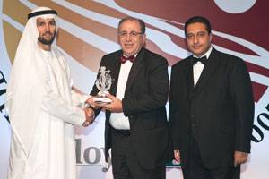 File ABS Regional Vice President, Middle Eastern Region, ABS Europe Division, Joseph Brincat (center) accepts the Lloyd's List Middle East & Indian Subcontinent Award for the Best Classification Society from Hamed Bin Lahej, Regional CEO Middle East/Africa, Drydocks World, Dubai during the awards ceremony held in Dubai. At right is Reg Athwal, founder of the RAW Group of Companies and the master of ceremonies for the event. (Photo courtesy ABS)