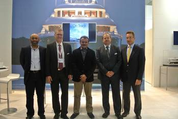 File L to R: Ahmed Amin - Manager Business Relations Drydocks World, Peter Kneipp MD - Lürssen, Khamis Juma Buamim Chairman of Drydocks World & Maritime World , Joerg Ahrens, Sales Manager Lürssen & Dr. Markus Voege, VP – Operations & Production of Drydocks World