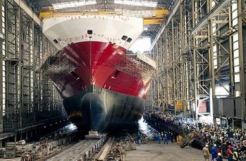 File The Oceanex Connaigra, launch from the Shipbuilding Hall at Flensburger Shipyard.
