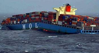 File Cracked containership MOL Comfort (Photo courtesy of PTI )