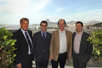 File  (LtoR): Flexlife sales and marketing director Charles Cruickshank with  Brazil executive manager Leonardo Pessoa Dias, Petrobras chief international officer Jorge Zelda and Flexlife chief executive Stuart Mitchell in Rio de Janeiro after signing the deal.