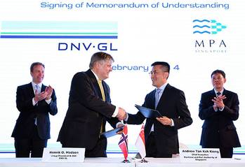 File The signing ceremony took place at the DNV GL 150th anniversary celebrations, in the presence of Mr Lui Tuck Yew, Singapore's Minister for Transport and Mr Borge Brende, Norway's Minister of Foreign Affairs.