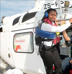 File Pinky Zungu, the marine pilot who guided the MSC Chicago into Durban. She recently made history with two others to become one of Africa's first black, female marine pilots with an open licence allowing her to navigate vessels of any size and type into South African waters. [Photo by Terry Haywood]