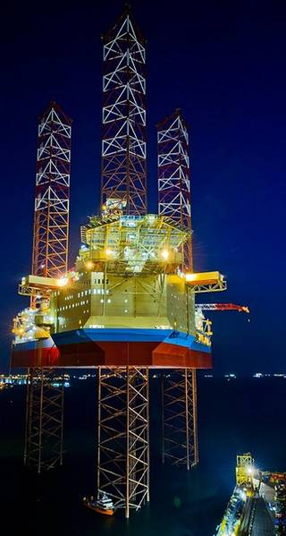 File Maersk Intrepid at night: Image Maersk Drilling