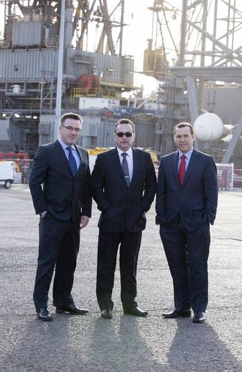 File Left to right: Matt North, port manager at The Port of Dundee; Dave MacKay, executive chairman of PD&MS Energy; and Bruce Gill, managing director of Harlen.