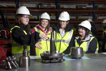 File Katy Crawford from Sparrows with Mintlaw Academy pupils Abby Thompson, Rebecca Tosh and course co-ordinator Heather Sim as part of the Girls into Energy program.