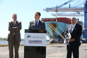 File Jay Timmons, NAM President and CEO, discusses infrastructure survey results at the Port of Philadelphia. Also pictured, Port of Philadelphia Executive Director James McDermott (Left) and BAF Co-Chair and Former Pennsylvania Governor Ed Rendell (Right). Please credit National Association of Manufacturers/David Bohrer.