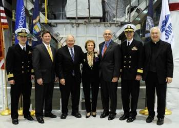 File USS Detroit Keel-laying Ceremony: Photo credit Lockheed Martin
