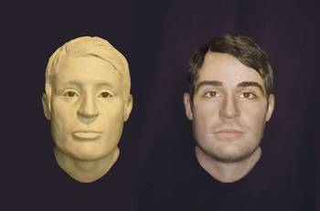 File LEFT: Clay model of the face of a USS Monitor sailor whose remains were found in the gun turret in 2002. RIGHT: Computer enhanced image showing what the unknown sailor may have looked like while aboard the USS Monitor in 1862.