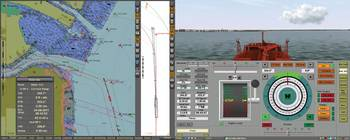 File Vessel approaching the con Hook range in New York harbor. The image shows a dual display for ECDIS running the official US5NY1CM cell groomed for the tanker in transit. (Transas simulation, real ECDIS)